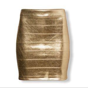 H&M • Gold Metallic Bandage Mini Skirt • Size 6